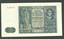 1941 Poland 50 Zlotych Currency Note P102 Paper Money Banknote