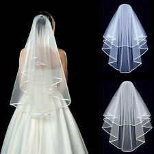 White Women Beautiful 2t Ivory White Wedding Bridal Veil Elbow Length Satin Edge