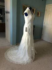 Vintage Inspired Lace Mermaid Trumpet Wedding Dress size 16 Ivory