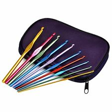 Aluminum Crochet Hooks Needles Knit 22pcs Set Multi Color Weave Craft Yarn NEW