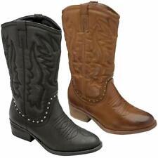 Ladies Womens Mid Calf Block Heels Riding Cowboy Biker Chelsea Boots Shoes Size