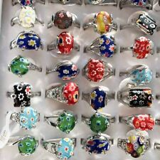 Wholesale Lots Jewelry 50pcs Assorteed Natural Stone Silver Rings FREE Shipping