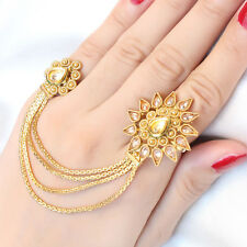 Indian Ethnic Gold Plated Chain Adjustable Finger Polki Rings Bollywood Jewelry