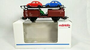 Marklin HO 4613 Auto Transport DB with 4 VW Beetles