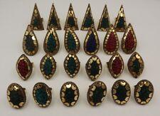 24Pcs. Lot Nice Red Coral & Multi Stone 925 Solid Brass Beautiful Ring KA9828