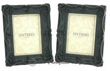 """TWINPACK Shabby Chic Very Ornate Antique Black Photo Frames for 7""""x 5"""" pictures"""