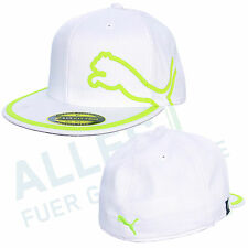 Puma Monoline 210 Fitted Flat Bill Cap White/Green Straight Umbrella L/XL (59-65