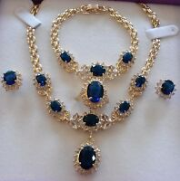 SET Blue sapphires GOLD GF matching necklace bracelet ring earrings PLUM UK BOXD