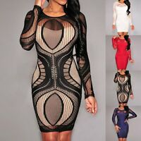 Women Lace Long Sleeve Bodycon Formal Cocktail Party Slim Fit Mini Dress UK 6-12