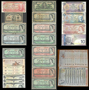 $163.25 Face VINTAGE Canada OLD Bills/Dollars NICE 48 pcs PAPER MONEY Collection