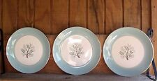 "3 VTG 10 1/8"" HOMER LAUGHLIN Rhythm China Dinner Plates Turquoise w Tree Center"