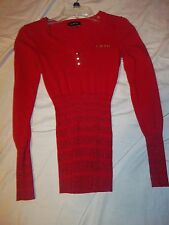BEBE LADIES SLIMMING RED LONG SLEEVE BLING LOGO SHIRT/SWEATER SIZE  SMALL