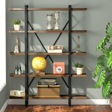 LITTLE TREE Solid Wood 3-4-5-Shelf Industrial Style Bookcase Home Book Shelves