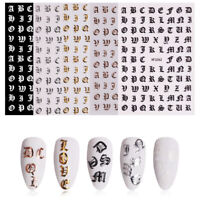 5pcs Autocollants Lettre Alphabet Bricolage Nail Art Conseils Décoration