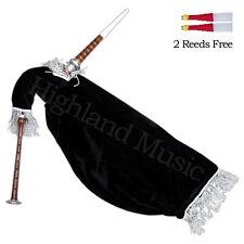 NEW HM Scottish Goose Practice Bagpipe Rosewood Silver Mounts Black Velvet Bag