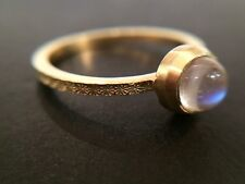 Gold hammered moonstone ring