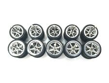 5 sets 6 spoke big/small Chrome long axle fit 1:64 Hot Wheels rubber tires