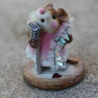 Wee Forest Folk MM)-1a Singer. Darling girl mouse singer at microphone
