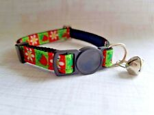 Strawberry Flowers Breakaway Safety Kitty Cat Collar with removable bell!