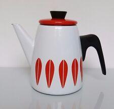 Vintage CATHRINE HOLM NORWAY  Enamel LOTUS COFFEE TEA POT Orange / Red on white