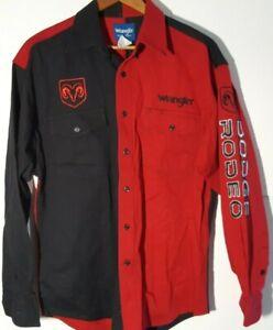 Wrangler Dodge Ram Rodeo Embroidered Red/Black Color Block Large Shirt EUC
