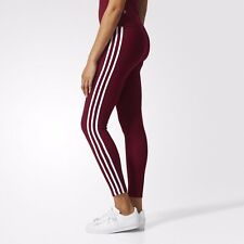 NEW WOMEN'S ADIDAS ORIGINALS 3-STRIPES LEGGINGS [BP9502]  BURGUNDY//WHITE