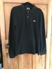 Lacoste Black Long Sleeve Polo Shirt Size Small