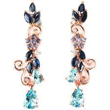Große Ohrringe Saphir blau Tansanit Blautopas 925 Silber 585 Roségold vergoldet