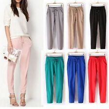 New Women Comfy Elastic Waist Full Length Trousers Casual Chffion Harem Pants