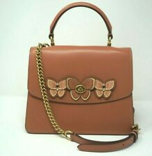 Coach Parker Butterfly Applique Leather Light Peach Crossbody Shoulder Bag 69606