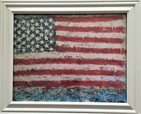 "FLAG 8X10 PRINT FRAMED ON CANVAS ""OLD GLORY PREVAILS"", ARTIST SIGNED, FREE SHIP"