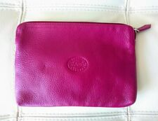 Roots Canada Hot Pink Pebbled Leather Fold Over Clutch Bag