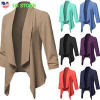 Plus Size Womens Lapel Suit Coat Ladies Long Sleeve Solid Blazer Cardigan Jacket