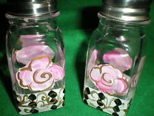 HAND PAINTED SALT AND PEPPER SHAKERS IN PINK ROSE WITH BLACK AND WHITE DIAMONDS