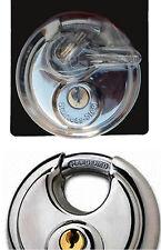 Heavy Duty Stainless Steel Discus Lock Padlock Hardened Steel Shackle w/ 2 Keys