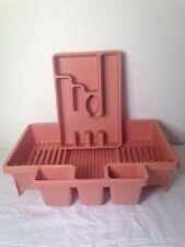 Vintage PINK Rubbermaid Rack DISH DRAINER Plates & Silverware Drawer Organizer