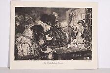 Gravure XIX° La contribution forcée d'ap. Menzel 1885 Ch Courtry grav. Joueurs