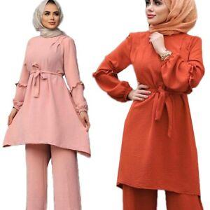 Women's Dubai Arab Set Long Sleeve Blouse Tops Pants Suits Casual Muslim Clothes