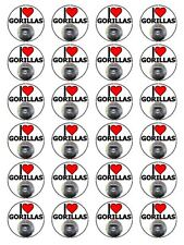 """x24 1.5"""" I Love Gorillas Mountain And Lowland Ape Cupcake Topper On Rice Paper"""