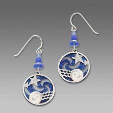 Adajio Earrings Ocean Blue Pinwheel Silver Stars Over Water Overlay Made in USA