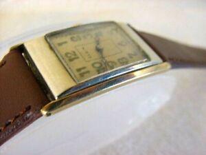 Vintage 2TONE 14K GOLD FD larg antique pre 1920 Art Deco ELGIN CURVEX mens watch