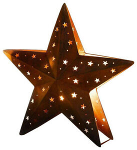 """Candlestick """"Star"""" Medium - Metal in Trendy Rostton with Punched Star Patterns"""