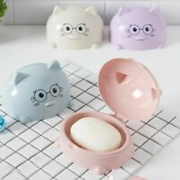 Cartoon Cat Plastic Soap Dish Shower Soap Storage Holder Bathroom Accessories