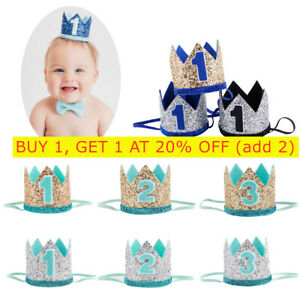 Baby 1st -3th Birthday Crown Hat Headband Hair Accessories Party Decor*