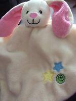 Cream Pink Bunny Rabbit stars swirl Comforter blankie doudou taggies lapin A3