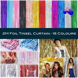 2M Metallic Tinsel Curtain Foil Backdrop Wedding Birthday Party PomPom Decor AUS
