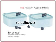 TUPPERWARE FREEZE-IT PLUS SMALL SQUARE Set of 2 Containers 1-1/4 cup NO STAINING