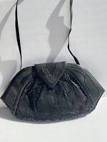 Lambskin Black 70s 80s Vintage Diamond Handbag Shoulder Bag Vintage Snakeskin
