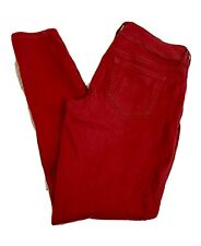 Maurices Cherry Red Stretch Pants Jean-Look Trousers Women Size Medium
