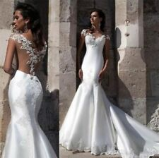 Boho Chapel Wedding Dresses Bridal Gown Sweetheart Neck Sheer Lace White Ivory